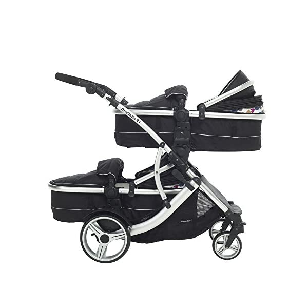 Duellette 21 Combo Twin Tandem Pushchair Baby Newborn carrycots Pram Travel system : 2 Pramette/seat units, 2 FREE Black footmuffs 2 Rain covers, Midnight Black by Kids Kargo Kids Kargo Demo video please see link https://www.youtube.com/watch?v=X_tEcnQ8O8E Compatible with car seats; Kids Kargo, Britax Baby safe or Maxi Cosi adaptors. Versatile. Suitable for Newborn Twins: Both carrycots have mattress and soft lining, which zip off. Remove lining and lid, when baby grows out of carrycot mode. Converts to a full sized seat unit, with 5 point harness. 7