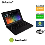 G-Anica 10.1-inch Full-HD Laptop (WIFI, Webcam, Dual-Core 1GB RAM, 8GB) with Android 4.4.2 Netbook (Black)