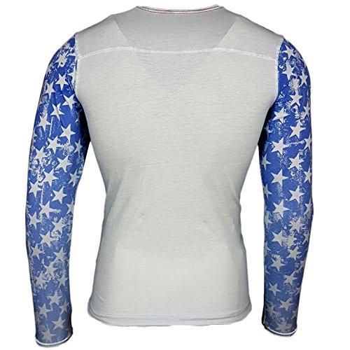 Rusty Neal Longshirt Printed Motiv Druck Amerika USA Langarm Shirt T-Shirt Longsleeve 10132 Hellblau