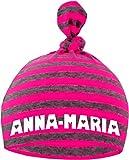 Baby Mütze bedruckt mit dem NAMEN des Kindes (Farbe neonpink/grau) (Gr. 0-18 Monate)