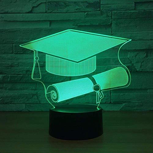 Art Sculpture Lights Touch Switch Doctor Cap Lámpara De Luz Nocturna Con Luz De Noche Led 7 Tabla De Cambio De Color Lámpara De Escritorio Usb Como Regalo Conmemorativo Para Graduado De St Udent
