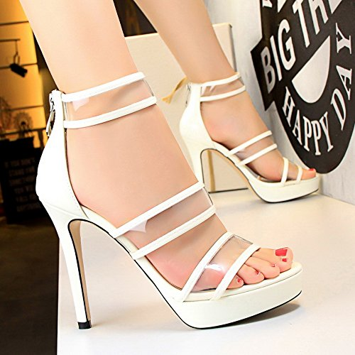 LGK&FA High Heels Sandales Imperméable Avec Une Fine Tous Les Poissons-Match Bouche Chaussures 37 white
