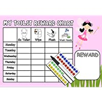 Happy Learners GIRLS TOILET TRAINING REWARD CHART (FAIRY) - Potty / Toilet reusable chart with 90 star stickers and pen