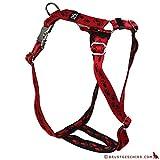 Feltmann Premium Hundegeschirr mit Alu-Max®, Soft- Nylonband, rot mit schwarzen Pfötchen, 40-60cm, 15mm