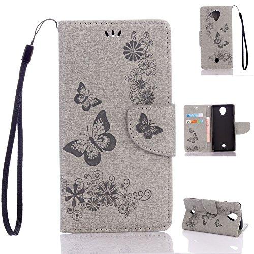 Wiko U Feel Handyhülle Book Case Wiko U Feel Hülle Klapphülle Tasche im Retro Wallet Design mit Praktischer Aufstellfunktion - Etui Grau