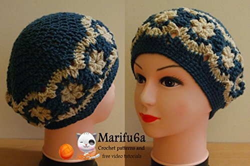 crochet beret hat with flowers: crochet beret hat with flowers (English Edition) -