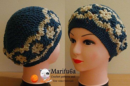 crochet beret hat with flowers: crochet beret hat with flowers (English Edition) (Crochet Beret)
