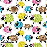 Schaf Bunt 100% Baumwolle Baumwollstoff Kinderstoff