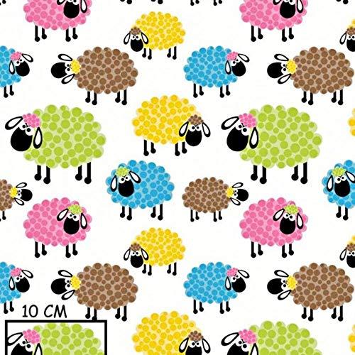 Schaf Bunt 100% Baumwolle Baumwollstoff Kinderstoff Meterware Handwerken Nähen Stoff Tiermotiv 100x160cm 1 Meter (Schaf Bunt)