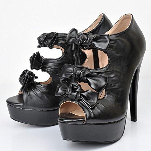 Kolnoo Damen Faschion 14cm Absatz Plattform Peeptoe Sandalen Butterflys Partei Schuhe Black