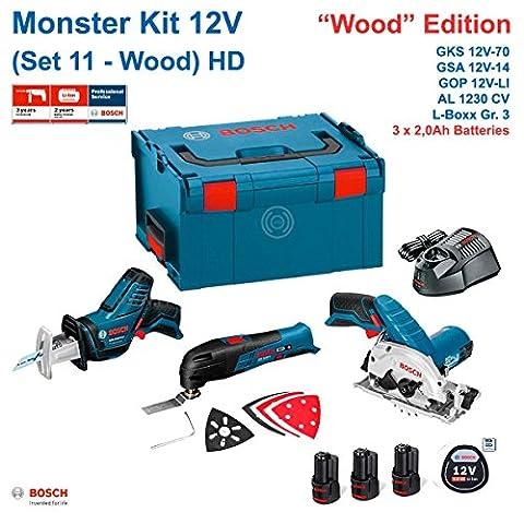 BOSCH Monster Kit 12V Set 11 HD Special Holz (GKS 12V-26 + GOP 12V-LI + GSA 12V-14 + 3 x 2,0 Ah + AL1230CV + L-Boxx 238)
