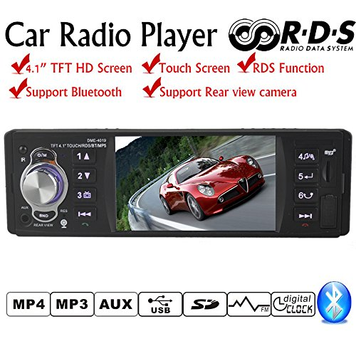PolarLander 4,1 Zoll HD TFT Touchscreen Auto Radio Audio Stereo Mp3 Mp4 RDS USB TF Aux In Player mit Fernbedienung unterstützen Rückansicht Kamera Bluetooth Freisprechen