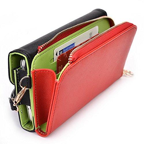 Kroo d'embrayage portefeuille avec dragonne et sangle bandoulière pour LG Spirit Multicolore - Black and Orange Multicolore - Noir/rouge