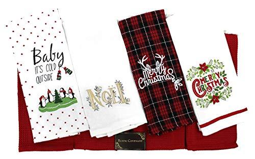 Geschirrtücher, Gewebte Baumwolle, rustikaler Covenant, Weihnachten, 63,5 x 38,1 cm, 6 Stück Tea Towels Christmas Holiday Tea Towels, Set of 8 Sonoma-bar Set
