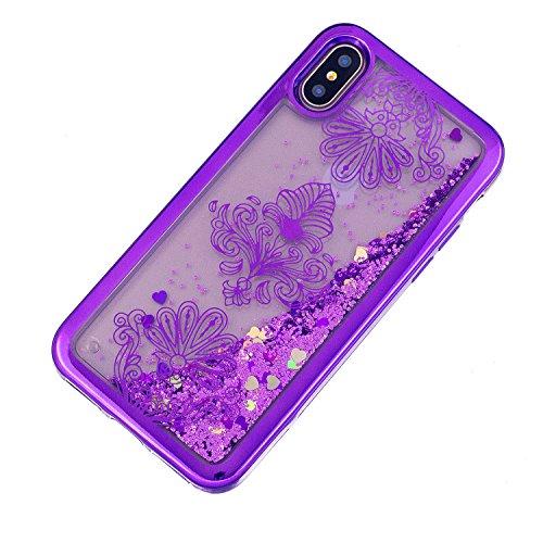 iPhone X hülle flüssig,iPhone X hülle glitzer, LuckyW TPU Silikon Gradient Farbe Handyhülle für iPhone X 3D Bling Glitter Glitzer Flowing Fließend Liquid Flüssig Shinny Moving Star Floating Trend Schw Blume