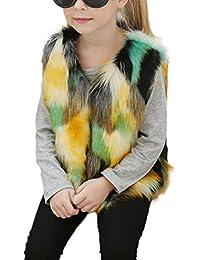 Mädchen Kinderjacke Fellweste Winer Wärmemantel Parka Coat Übergangsjacke Outwear