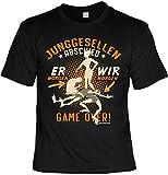 Junggesellenabschied T-Shirt für Männer - Er Morgen - Game Over - Herren Shirts schwarz lustiges Geschenk-Set Bedruckt mit Urkunde