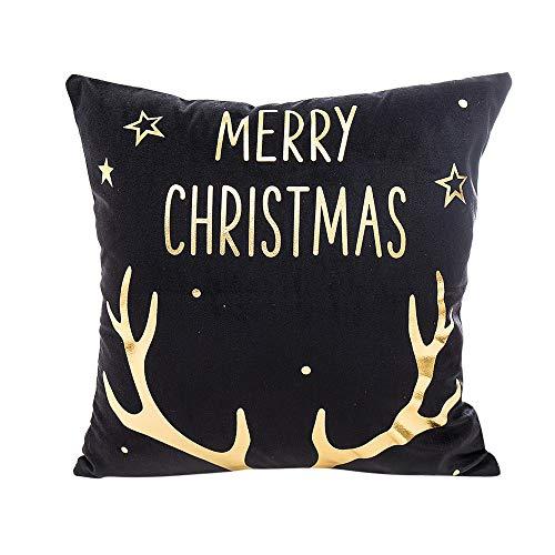 JiaMeng Funda Cojin Almohada, Cojín del sofá de la Caja de Almohada de la impresión de la Hoja de Oro de la Feliz Navidad Decorativas para el hogar