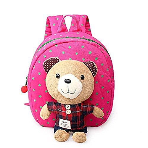 Rainbow Fox Bär Rucksack Kinderrucksack Kindergartentasche Chic und Praktisch Kinderrucksäcke (Rose)
