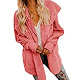 Damen stylischer Herbst Winter Revers Jacke Warm Plüsch Strickjacke Teddy-Fleece Mantel Plüschjacke Kunstpelz Winterjacke Übergangs Steppjacke Warmen Outwear Lange Ärmel Einfarbig Sexy Parka Lange