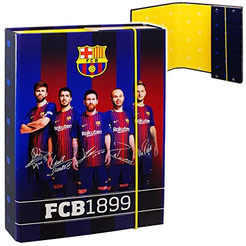 alles-meine.de GmbH Heftordner / Ordner / Heftbox - A5 - Fußball - FC Barcelona - FCB - für Hefte, Zettel und Mappen - Gummizugmappe & Heftmappe - klein - Mappe Box - Schule Ordn..