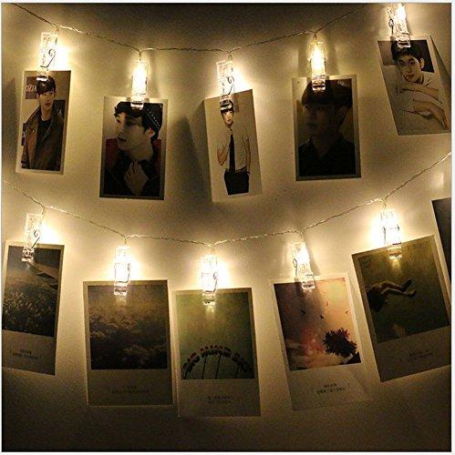 comprare on line Ghirlanda di luci LED con mollette per appendere foto –40mollettine per foto, decorazione lunga 5m alimentata a batterie prezzo