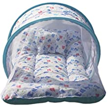 PK Toddler Mattress with Mosquito and Bed (Upto 8 Months, Sky Blue)