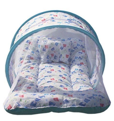Toddler Mattress with Mosquito Net for Baby/Baby Mosquito net with Bed - Ideal for New Born Upto 8 Months Baby Bedding Set (100% Soft Pure Cotton) (Print is Same as Shown Cartoons) Sky Blue