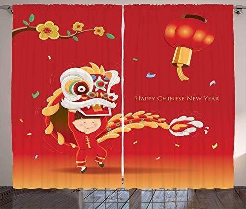 ABAKUHAUS Chinesisch Rustikaler Vorhang, Kleiner Junge Lion Dance, Wohnzimmer Universalband Gardinen mit Schlaufen und Haken, 280 x 245 cm, Mehrfarbig (Stangen Zuhause Für Dance)