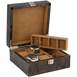 Armbanduhr und Manschettenknöpfe Sammler Box 8Paar Manschettenknöpfe + 4Handgelenk Uhren im Licht Wurzelholz mit massivem Deckel von aevitas