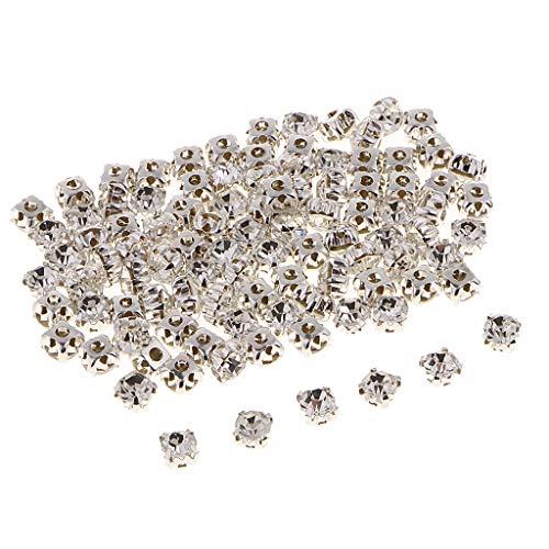 IPOTCH 100pcs Flatback Strasssteine Glitzersteine zum Aufnähen- oder Aufkleben 6 mm für Kostüme, Tasche, Hut - Weiß