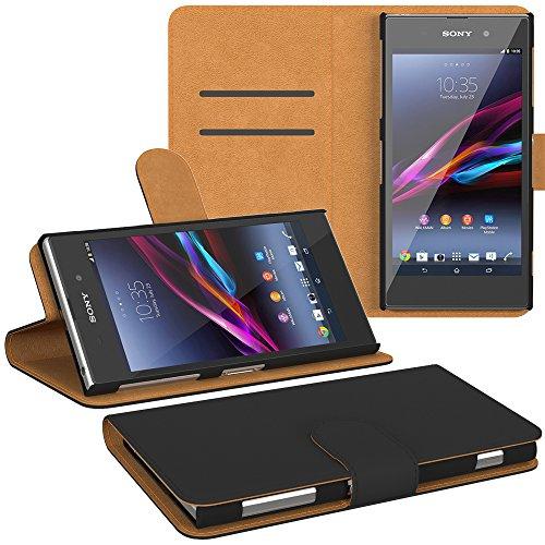 PREMIUM - Book-Style Case für - Sony Xperia Z Ultra - Wallet Case Flip Cover Hüllen Schutzhülle Etui Hülle mit Standfunktion Schwarz