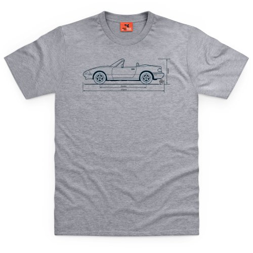 PistonHeads MX-5 T-Shirt, Herren Grau Meliert