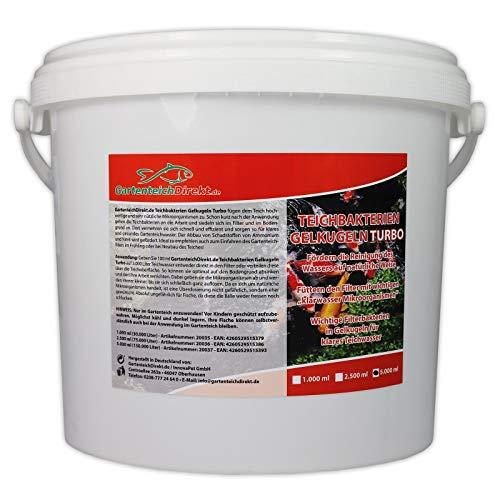 GartenteichDirekt Teichbakterien Gelkugeln Turbo 5 Liter (GRATIS Lieferung in DE - Mikroorganismen und Filterbakterien für den Gartenteich - Für klares Gartenteichwasser, Reinigung des Wassers) -