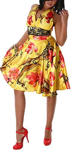Cocktail-Kleid mit Neckholder in Satin mit Blumen-Motiv, Glanz & Spitzen-Dekor, Goldgelb (Marilyn Neckholder Kleid Monroe)