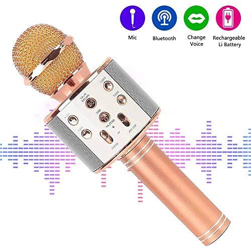 Bluetooth Karaoke Mikrofon,tragbar drahtlos dynamisch Mikrofon, 4.1 Lautsprecher für die Aufnahme von Sprach und Gesang,für Party,Podcast,Familie. kompatibel mit Android/IOS, PC - Familie Karaoke