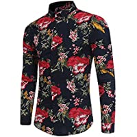 WULIFANG Los Hombres De Negocios Casual Camiseta De Manga Larga De Impresión De Flores Botón Floral Polka Dot Hombre De Camisa De Vestir De Moda Negro XXL