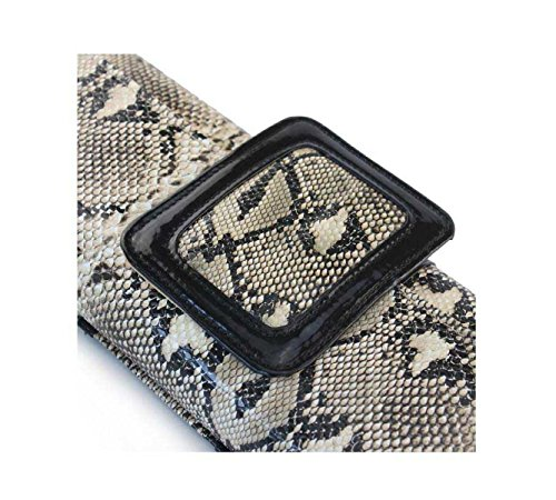Signore Borsa A Tracolla Modello Del Serpente Signore Brillanti Evening Bag Cosmetics Bag Gray