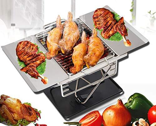 PFSYR Außen 1-2 Personen Tragbarer Barbecue Grill Braten Herd, Haushalts Picknick Herd Brennholz Holzkohle-Ofen, Durable Edelstahl Grill-Rack
