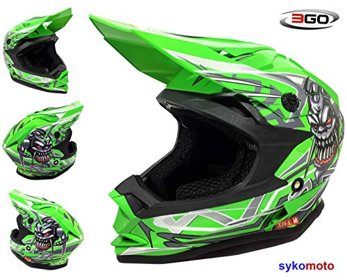 3GO X10-K MOTOCROSS MX BOYS AND GIRLS QUAD ATV DIRT OFF ROAD ENDURO BMX MOUNTAIN HELMET HOMOLOGADO VERDE (L (51-52 CM))