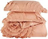 Chic Home 3 Piece Birdy Floral and Rose Pleated Etched applique King set copripiumino bianco, Microfibra, Peach, King