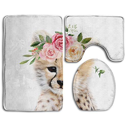 Cocoal-ltd Baby Gepard mit Blumenkrone, weicher Komfort, Flanell, Badezimmermatte, rutschfest, saugfähig, 3 Stück