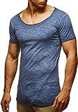 LEIF NELSON Herren T-Shirt Basic Shirt Verwaschen Vintage Longsleeve Sweatshirt Pullover Hoodie Rundhals Ausschnitt