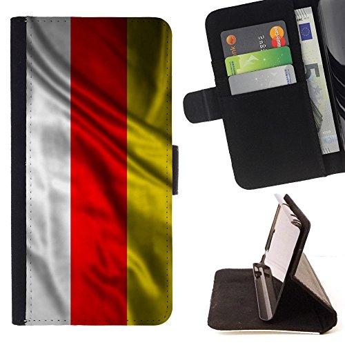 FJCases Süd-Ossetien Wehende Flagge Tasche Brieftasche Hülle Schale Standfunktion Schutzhülle für Samsung Galaxy A9