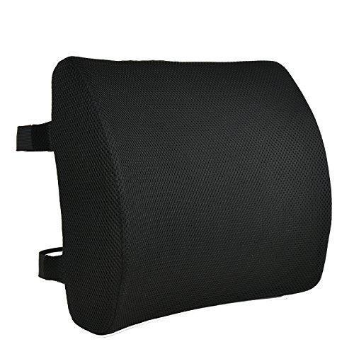 Espuma de memoria cojín trasero por CompuClever-almohada de soporte lumbar con doble correas ajustables-Lower Back Support Cushion para Home Office Chair Asiento de coche Diseño ergonómico con funda extraíble