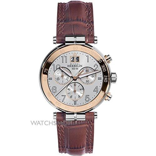 Reloj De Hombre–Michel Herbelin–Banda de piel marrón–Newport Chrono–36654/tr11ma