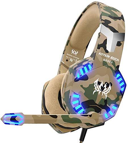 VersionTECH. Casque Gaming pour PS4 Nintendo Switch, Casque Gamer Filaire Militaire avec Micro et Lumières LED pour PC, Xbox One X/S, Ordinateur Portable - Camouflage