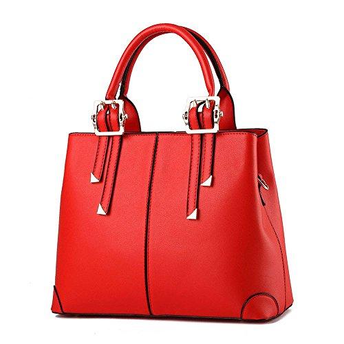 Koson da donna alla moda, in pelle sintetica PU, motivo Vintage Beauty, maniglia superiore Borsa Tote Bags, rosso (Rosso) - KMUKHB106