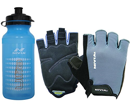 Nivia Extreme Ultra Python Gym & Fitness Combo, Large (1 Pair Nivia Python Gym Gloves Black/Grey, Large + 1 Nivia Ultra Sports Bottle Sipper)  available at amazon for Rs.899