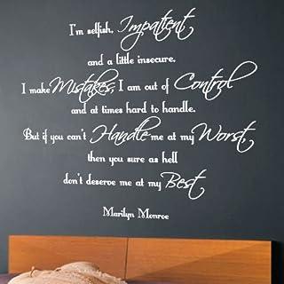 amazing sticker Wandaufkleber Marilyn Monroe I Am Selfish Impatient, blau, Large